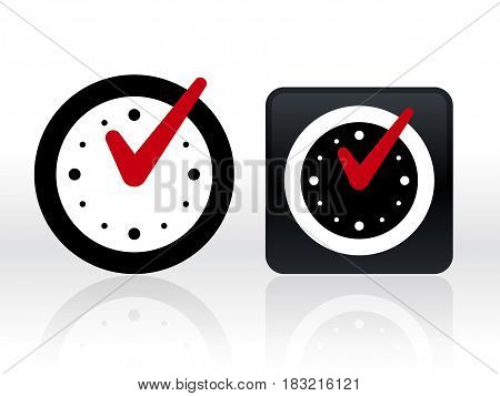 Round and square clocks with check mark on white background. Vector illustration.