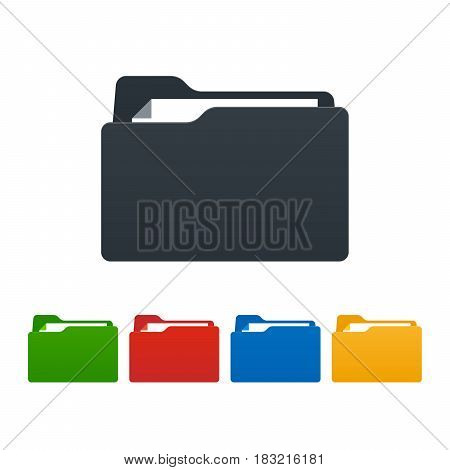 Flat folders with documents on white background. Colorful isolated icons. Vector illustration.