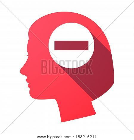 Isolated Female Head With  A No Trespassing Signal