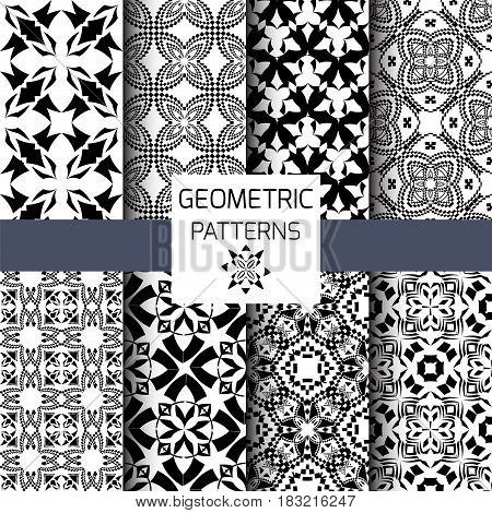 Vector set of seamless textures. Tribal geometric patterns. Collection of black and white ornamental backgrounds