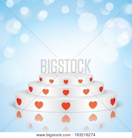 White vector stage with stairs and red hearts, isolated on a blue bokeh background. Oval romantic scene for your valentines day design decoration.