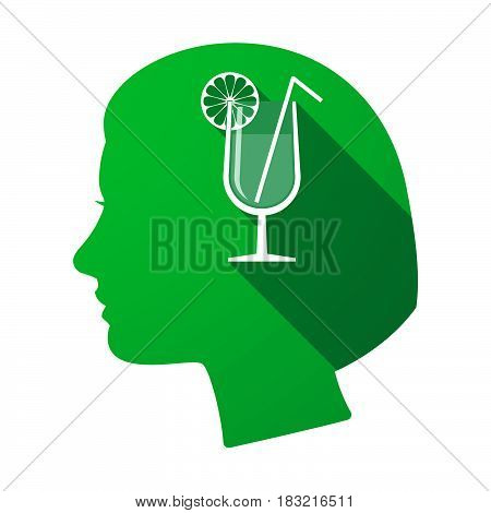 Isolated Female Head With  A Cocktail Glass With A Slice Of Lemon And A Straw