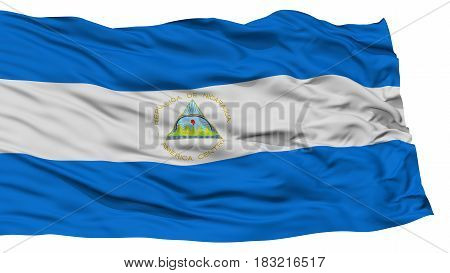 Isolated Nicaragua Flag, Waving on White Background, High Resolution