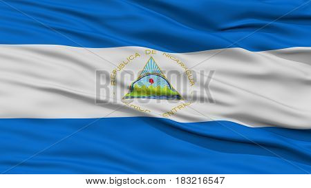 Closeup Nicaragua Flag, Waving in the Wind, High Resolution