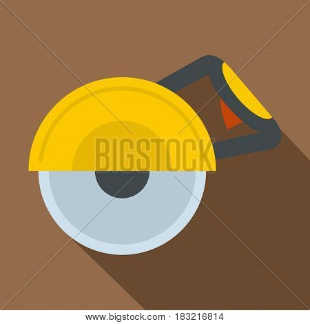 Yellow cut off machine icon. Flat illustration of yellow cut off machine vector icon for web on coffee background