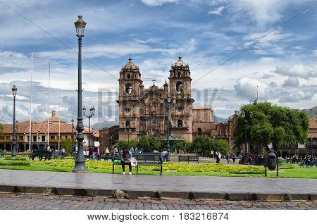 CUZCO PERU 08 FEBRUARY 2017: view to Plaza de Armaz during the daytime
