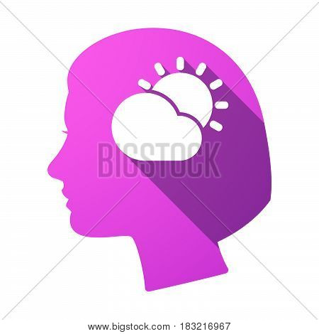 Isolated Female Head With  The Sun Shining Behind A Cloud