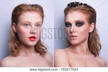 portrait of same girl with two differen makeup