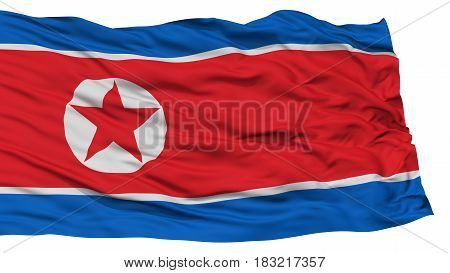Isolated North Korea Flag, Waving on White Background, High Resolution