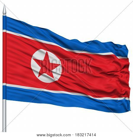 North Korea Flag on Flagpole , Flying in the Wind, Isolated on White Background