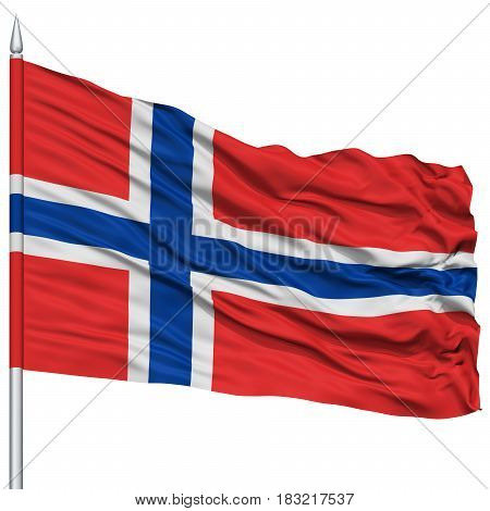 Norway Flag on Flagpole , Flying in the Wind, Isolated on White Background