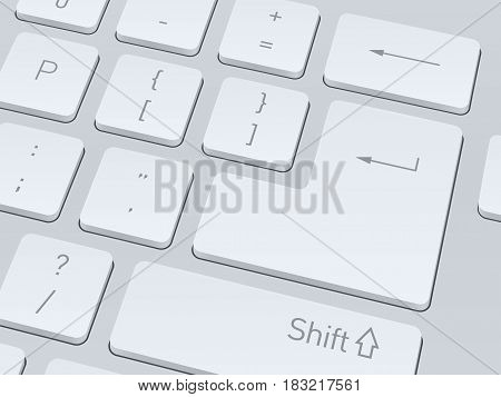 Design of white computer keyboard for your corporate projects. Close up image. Vector illustration background.