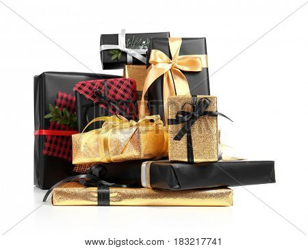 Set of different gift boxes on white background