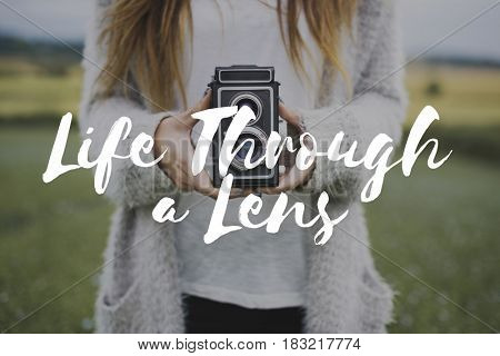 Capture life through lens photography word overlay