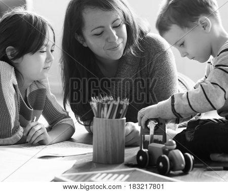 Little Boy Sharpening Colour Pencil