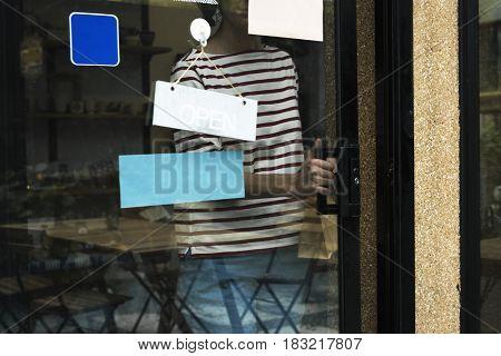 Woman shopping at cafe holiday