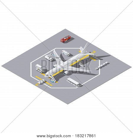 Maintenance of a passenger aircraft isometric icon set vector grpahic illustration