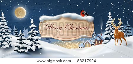 background with winter landscape. Greeting card with snowy Christmas night.
