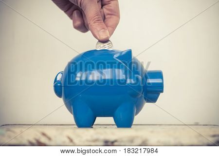 Color image of a blue piggy bank and a person adding coins.