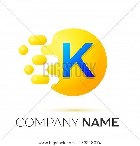 K Letter splash logo. Yellow dots and circle bubble letter design on grey background. Vector Illustration