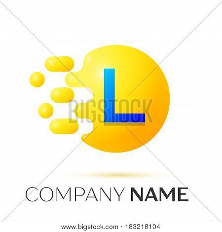 L Letter splash logo. Yellow dots and circle bubble letter design on grey background. Vector Illustration