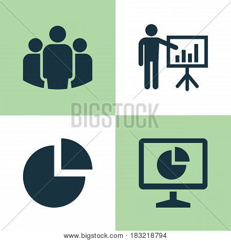 Job Icons Set. Collection Of Presenting Man, Pie Bar, Group And Other Elements. Also Includes Symbols Such As Business, Unity, Statistic.