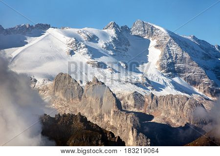 View of Marmolada the highest mount of Dolomites mountains Italy