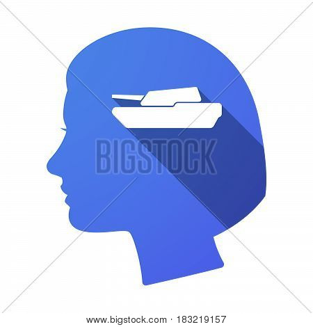 Isolated Female Head With  A Combat Tank
