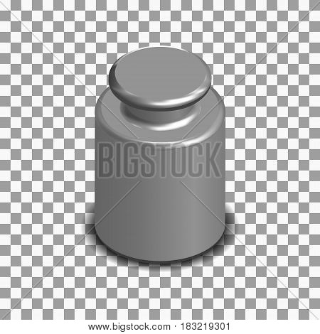 Photorealistic measuring weight for scales. 3D isometric style vector illustration.