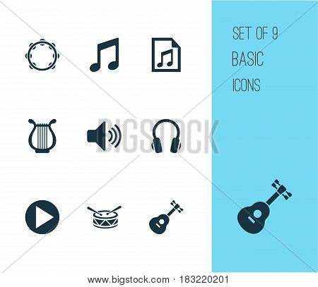 Audio Icons Set. Collection Of Instrument, Earphone, Lyre And Other Elements. Also Includes Symbols Such As Earphone, Button, Timbrel.