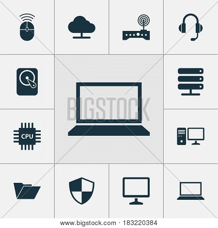 Computer Icons Set. Collection Of Personal Computer, Tree, Computer Mouse And Other Elements. Also Includes Symbols Such As Laptop, Protection, Dossier.