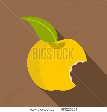 Yellow bitten apple icon. Flat illustration of yellow bitten apple vector icon for web on coffee background