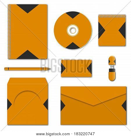 Template of corporate identity. Set of various mock-ups of business stationery. Design of branding elements. Notepad flash drive pencil envelope compact disc and business card vector illustration