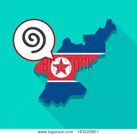 North Korea Map With  A Spiral
