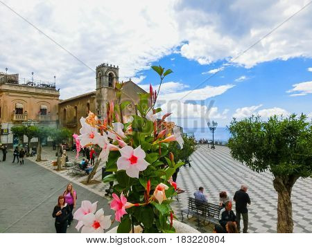 Taormina, Sicily, Italy - May 05, 2014: View over the main square in Taormina, Sicily, Italy Europe on May 05 2014