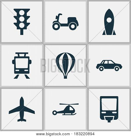 Shipment Icons Set. Collection Of Automobile, Chopper, Airship And Other Elements. Also Includes Symbols Such As Spaceship, Moped, Automobile.