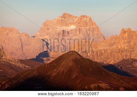 Evening view of gruppo del Sorapis South Tirol dolomites mountains Italy