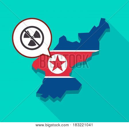 North Korea Map With  A Radioactivity Sign  In A Not Allowed Signal