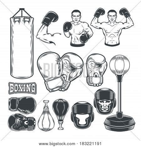 Set of boxing icons isolated on white.