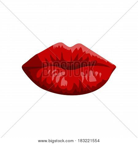 lipstick red lips on a white background vector illustration