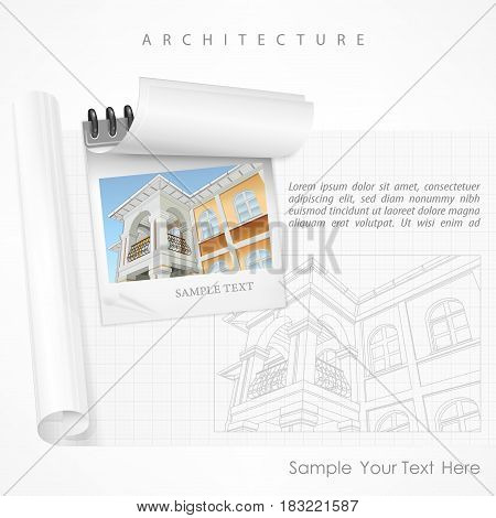 Architectural plan of building facade with terrace, cottage drawing detailed specification, on white. Vector illustration.
