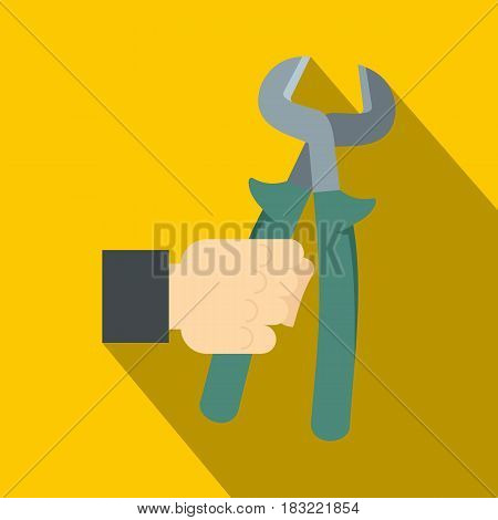 Pincer or plier in man hand icon. Flat illustration of pincer or plier in man hand vector icon for web on yellow background