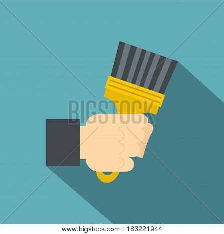 Hand hjlding paint brush icon. Flat illustration of hand hjlding paint brush vector icon for web on baby blue background