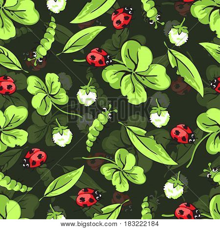 Cartoon hand drawing beetle ladybug and caterpillars, leaves and flowers of clover seamless pattern, vector background. Funny insects on a green backdrop. For fabric design, wallpaper, decoration