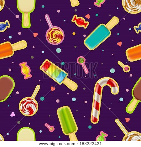 Seamless pattern of sweets and ice cream. Stock vector illustration.