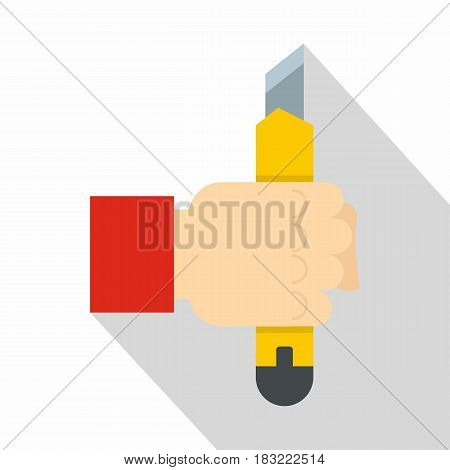 Hand hoding yellow construction utility knife icon. Flat illustration of hand hoding yellow construction utility knife vector icon for web on white background