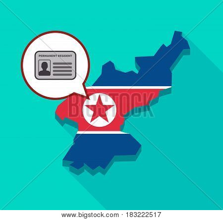 North Korea Map With  A Green Card