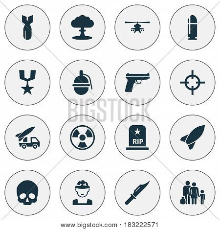 Army Icons Set. Collection Of Ordnance, Slug, Weapons And Other Elements. Also Includes Symbols Such As People, Gong, Skull.