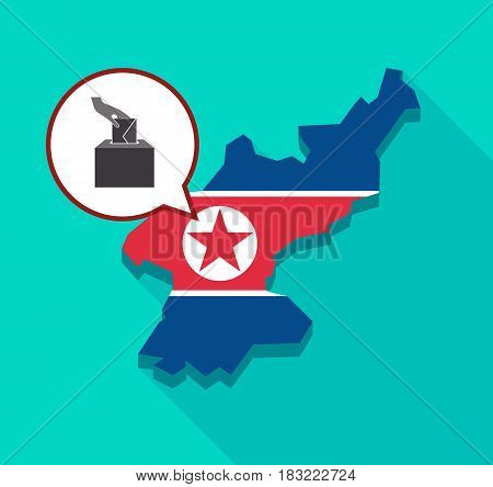 North Korea Map With  A Hand Inserting An Envelope In A Ballot Box