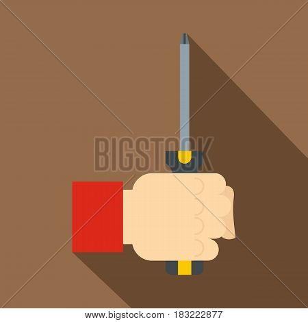 Hand holding screwdriver tool icon. Flat illustration of hand holding screwdriver tool vector icon for web on coffee background